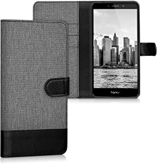 kwmobile Wallet Case for Huawei Honor 6X / GR5 2017 / Mate 9 Lite - Fabric and PU Leather Flip Cover with Card Slots and Stand - Grey/Black