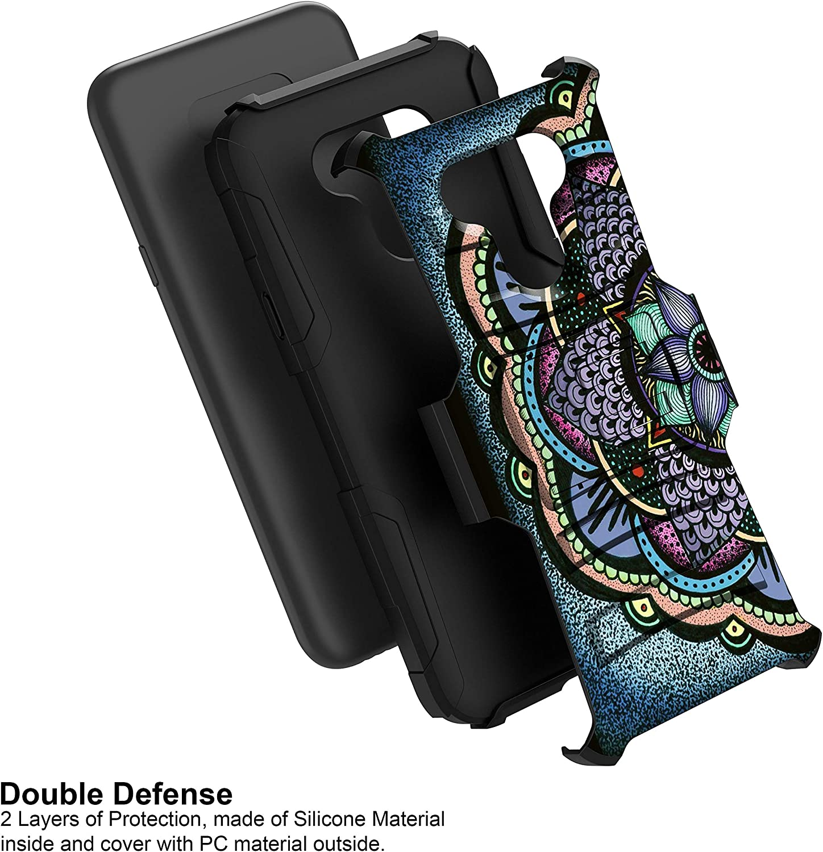 MINITURTLE Compatible with LG Harmony 4, Premier Pro Plus, Xpression Plus 3, K41 Hard Shell Hybrid Dual Layer Holster Belt Clip Case Cover [Clip Armor] - Flower Mandala
