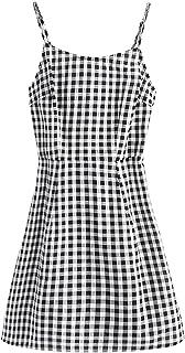 SweatyRocks Women's Spaghetti Strap Lace Up Back Casual Short Mini Gingham Dress