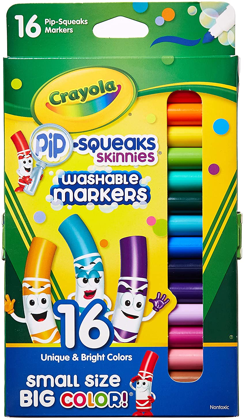 Crayola 714270010385 Pip-Squeaks Skinnies Washable Markers, Assorted Colors 16 ea (Pack of 2), 32 Count, Multicolor 32 Count