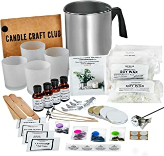 Candle Making Kit by Candle Craft Club - Natural Soy Wax Fun DIY Starter Set - Create 4 Premium Scented and Colored Candles - Supplies: Melting Pitcher, Glass Containers, Wicks, Dyes, Unique Scents