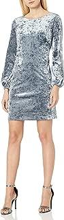 Women's Crushed Velvet Shift Dress with Long Bishop Sleeve