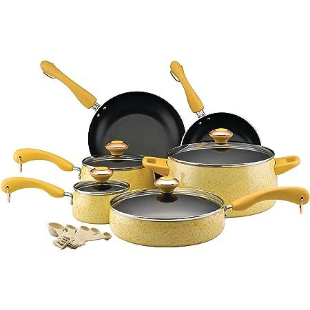 Paula Deen Signature Nonstick Cookware Pots and Pans Set, 15 Piece, Butter Speckle