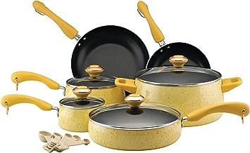 Paula Deen 12514 Signature Nonstick Cookware Pots and Pans Set, 15 Piece, Butter Speckle