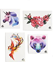 TattooYou Collection of Flower & Animal Temporary Tattoos - 4 Sheets of Fine Quality Watercolor Style Temporary Flower & Animal Tattoos - Hand Drawn Design by Sasha Unisex