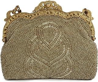 MyBatua Claire mattem Gold Antike Vintage einzigartige und schöne Rahmentasche ACP-086