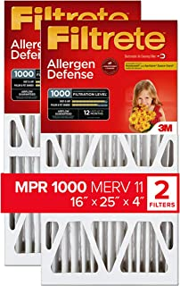 Filtrete 16x25x4 Nominal Size 15.88x24.56x4.31, AC Furnace Air Filter, MPR 1000 DP, Micro Allergen Defense Deep Pleat, 2-Pack
