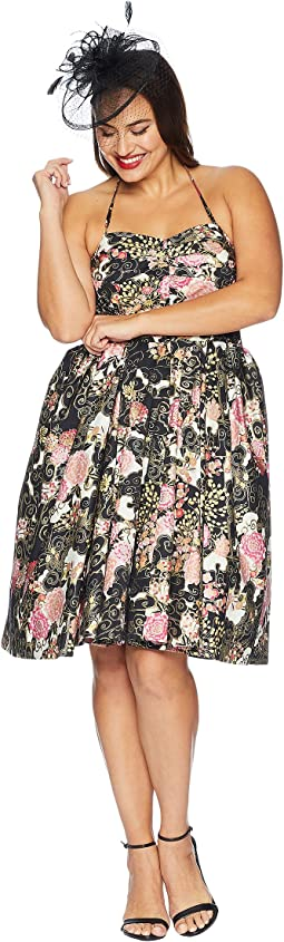 Plus Size Alfred Shaheen Blossoms Print Swing Dress