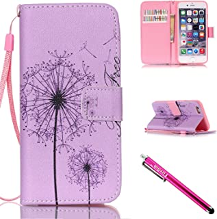 iPhone 5S Case, iPhone 5 Wallet Case, Firefish [Card Slots] [Kickstand] Flip Folio Wallet Case Synthetic Leather Shell Scratch Resistant Protective Cover for Apple iPhone 5/5S/SE-A-Dandelion
