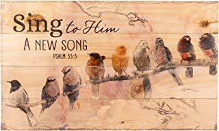 Sing to Him a New Song Perched Birds on a Limb 24 x 14 Wood Pallet Design Wall Art Sign