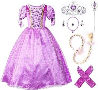 AmzBarley Vestito da Principessa Rapunzel Bambina Carnivel Cosplay Costume Ragazza Maniche Corte Abito Vestiti Operato Festa Compleanno Halloween Natale