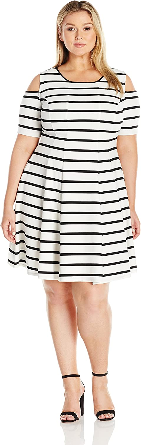 Julian Taylor Womens Full Figure Fitted Striped Fit and Flare Dress with Cold Shoulders Dress