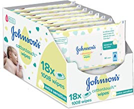 JOHNSON'S Cottontouch Extra Sensitive Wipes 1008 ct (56x18) – Blended with Real Cotton – pH Balanced for Delicate Skin