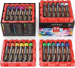 Arteza Coffret peinture acrylique, 24 tubes de couleurs (22ml), Pigments riches, Haute qualité, Non Toxique, Pour artistes...