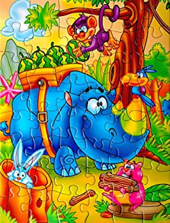 CHIPMUNKK 48 Piece Kids Jigsaw Puzzle with Beautiful Storage Box for Travel - Educational Fun for Children Ages 2-4 3-5 - Fun Cool Jungle Animal Cartoon Theme