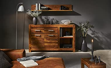 Harish Wood Product Sideboard Cabinets for Living Room   Kitchen Side Board with 3 Drawers & 3 Door Cabinets Storage   sh