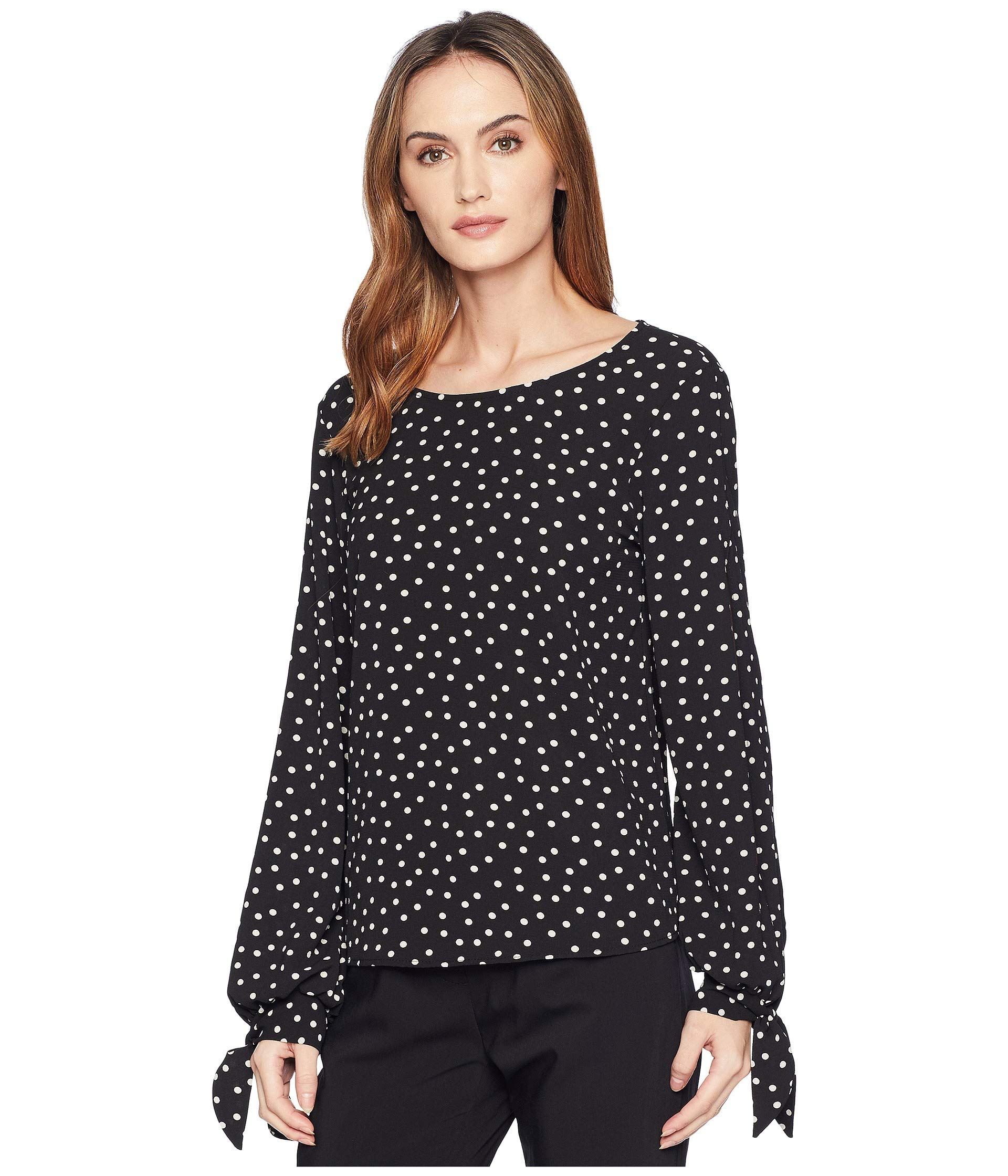 Black Fern Rose Polka Sleeve Dot Long Top American 0Txqwdv5x