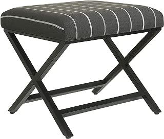 HomePop Modern Square Metal X-Base Ottoman, Charcol Awning Stripe