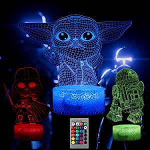 Star Wars Night Lights for Kids, 16 Color Baby Yoda Lamp Bedroom Decor 3D Illusion 3 Pattern Star Wars Gifts with Remote & Smart Touch, Christmas Birthday Gifts for Boys Star Wars Fans, Star Wars Toys