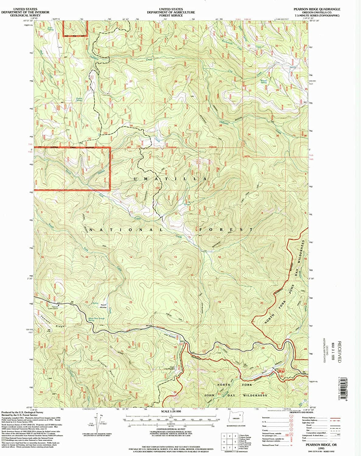 Pearson Ridge OR topo map, 1 24000 Scale, 7.5 X 7.5 Minute, Historical, 1995, Updated 1998, 26.9 x 21.9 in