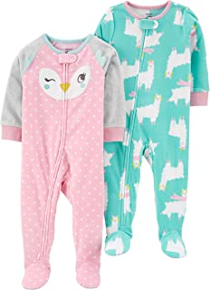 Baby Girls 2-Pack Loose Fit Fleece Footed Pajamas