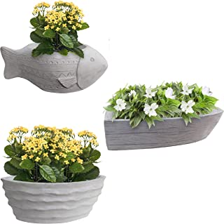 Garraí Cement Planters -Set of 3 Fish, Boat and Wave - Small Pots for Succulents or Flowers