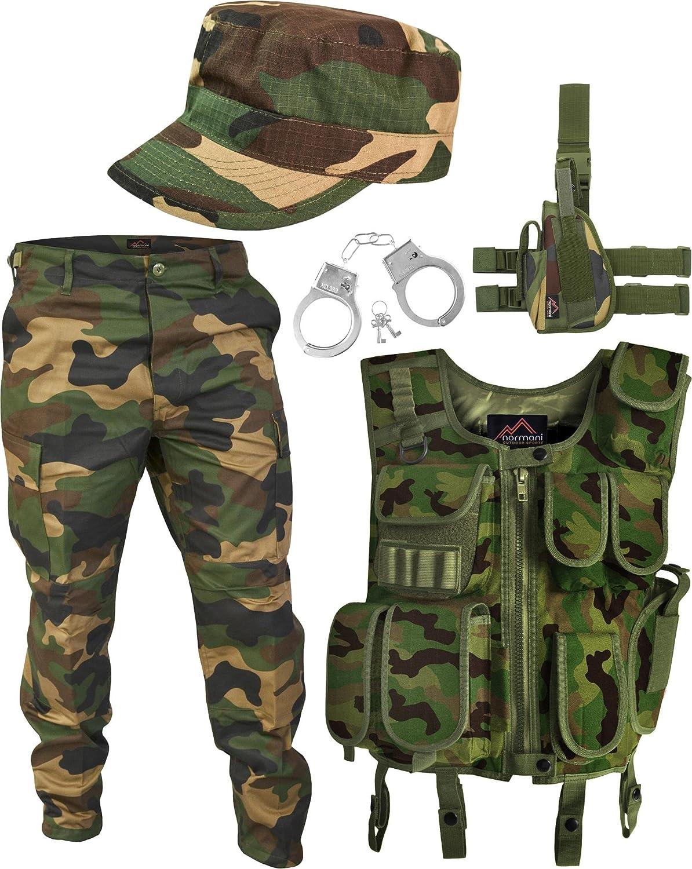 SWAT Kostüm Army Woodland Besteehend aus Weste, Hose, Pistolenholster, Cap und Handschellen