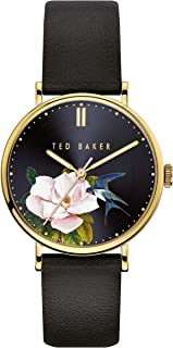Ted Baker Watches Women's PHYLIPA Flowers Stainless Steel Quartz Watch with Leather Calfskin Strap, Black, 18 (Model: BKPPFF910)
