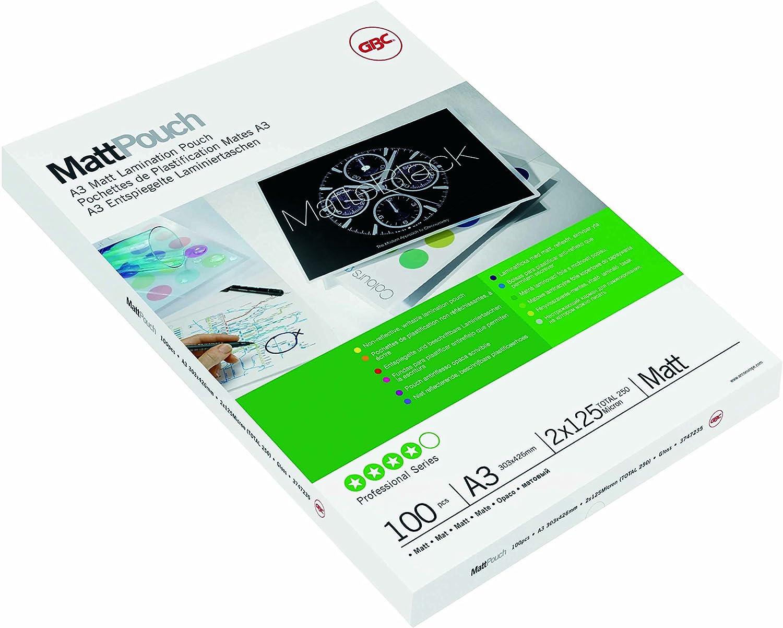 GBC 3747235 Matte Matte Matte Laminiertaschen (A3, 2 x 125 Micron, entspiegelte Oberfläche Edles Finish, beschriftbar) 100 Stück B000MQ94JA | Perfekte Verarbeitung  055af8