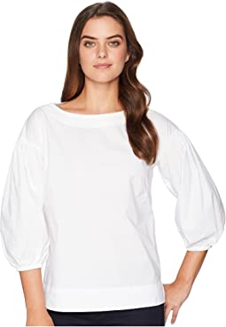 Stretch Cotton Bishop-Sleeve Top