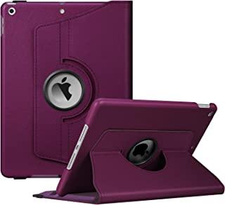"Fintie Rotating Case for New iPad 7th Generation 10.2 Inch 2019 - [Built-in Pencil Holder] 360 Degree Rotating Smart Protective Stand Cover with Auto Sleep/Wake for iPad 10.2"" Tablet, Purple"