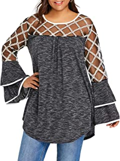 GAOXINGQU Women's Plus Size Mesh Stitching Sexy Bell Sleeve Blouse (Color : Grey, Size : 5XL)