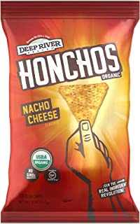 HONCHOS Organic Gluten Free Tortilla Chips, Nacho Cheese, 5 Ounce (Pack of 12), Non GMO