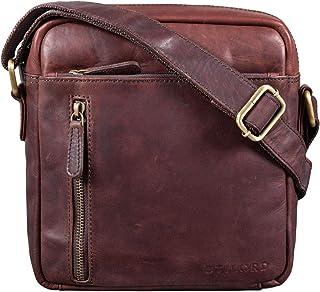"""STILORD Benno"""" Leder Umhängetasche Herren klein für iPad 9,7"""" braun Vintage Herrentasche Messenger Bag Schultertasche Männer Echtleder, Farbe:Ebenholz - braun"""