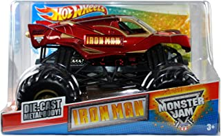 Hot Wheels Monster Jam 1:24 Scale Die Cast Metal Body Official Monster Truck 2011 Series #T8517 - Marvel IRON MAN with Monster Tires, Working Suspension and 4 Wheel Steering (Dimension : 7