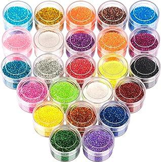 24 Colors Glitter Set, FANDAMEI 24 Boxes 5g Fine Glitter, Nail Art Glitter for Halloween Makeup, Cosmetic, Festival, Makeu...