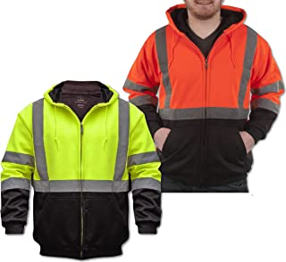 Safety Sweatshirt with Teflon Fabric Protector, Hi Vis 2-Tone Hoodie, Heavyweight with Liner, Full Zip, ANSI 107 Class 3 Compliant, For Men or Women (Large, Hi Vis Yellow)