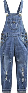 KIDSCOOL SPACE Girls Boys Denim Ripped Overalls,Washed Distressed Cotton Jean Pants
