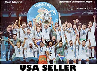 Real Madrid 2018 Celebrates UEFA Championship Poster 34 x 23.5 Cristiano Ronaldo Spain Spanish Soccer Football Team RMCF (Sent from USA in PVC Pipe)
