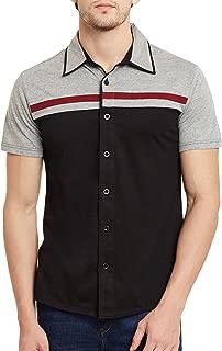 GRITSTONES Black-Grey Melange Half Sleeves Shirt GSHSSHRT1466BLKGM_S