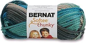 Bernat 16112929632 Softee Chunky Ombre Yarn - (5) Bulky Chunky Gauge 100% Acrylic,2.8 oz,Deep Waters, Machine Wash & Dry