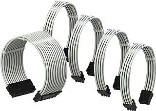 LINKUP - PSU Cable Extension Sleeved Custom Mod GPU PC Power Supply Braided w/Comb Kit |1x 24 P (20+4) | 2x 8 P (4+4) CPU...