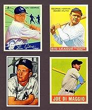 Babe Ruth, Lou Gehrig, Joe DiMaggio, Mickey Mantle (4) Card Reprint Baseball Lot #100 (New York)