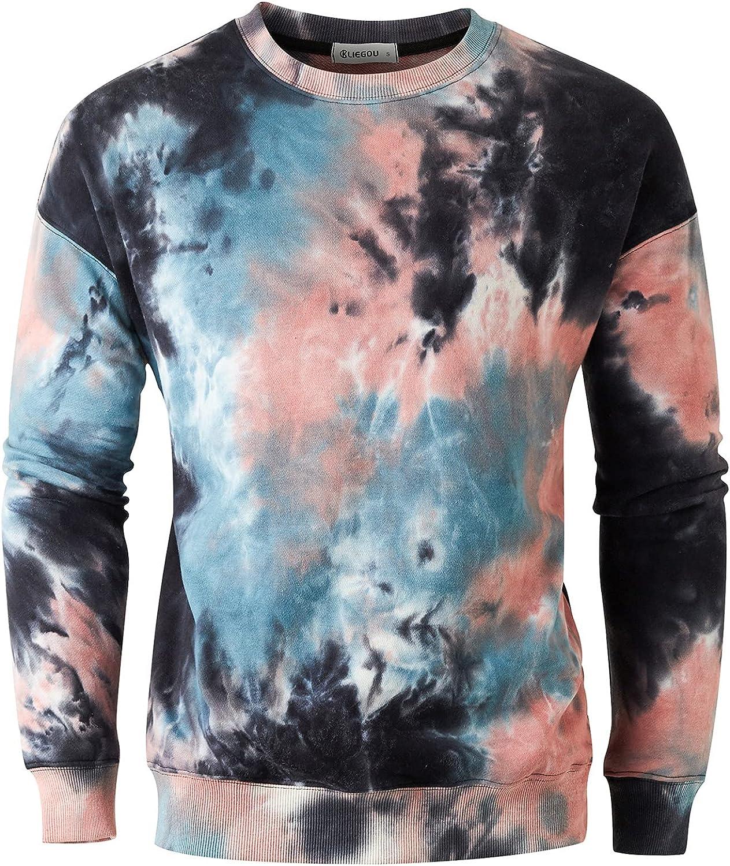 KLIEGOU Men's Fashion Crew Neck Tie Dye Sweatshirt