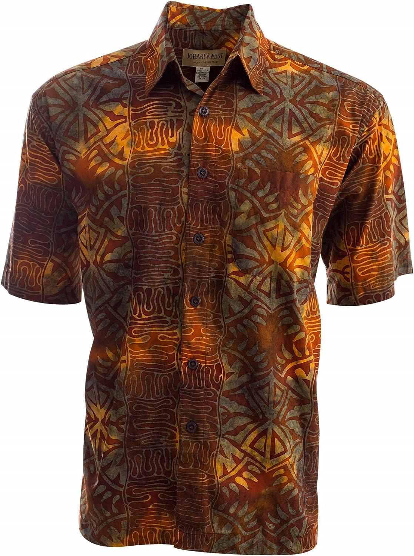 Ultra-Cheap Deals Johari West Hawaiian Short Sleeve Shirt Cheap mail order sales Batik Button-Down Cotton