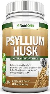 PSYLLIUM Husk Capsules - 1450mg Per Serving - 240 Capsules - Premium Psyllium Fiber Supplement - Great for Constipation, Digestion and Weight Loss - 100% Natural Soluble Fiber