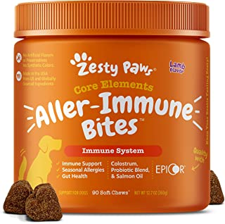 Zesty Paws Allergy Immune Supplement for Dogs Lamb- with Omega 3 Wild Alaskan Salmon Fish Oil & EpiCor + Digestive Prebiot...