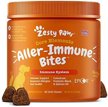 Zesty Paws Allergy Immune Supplement for Dogs - with Omega 3 Wild Alaskan Salmon Fish Oil & EpiCor + Digestive Prebio...
