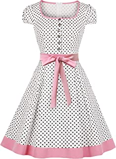 Nihsatin Women's Audrey Hepburn Vintage Style Rockabilly Swing Dress