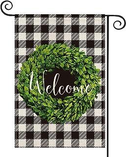 AVOIN Fall Boxwood Wreath Welcome Garden Flag Vertical Double Sided, Buffalo Check Plaid Rustic Farmhouse Burlap Flag Yard...